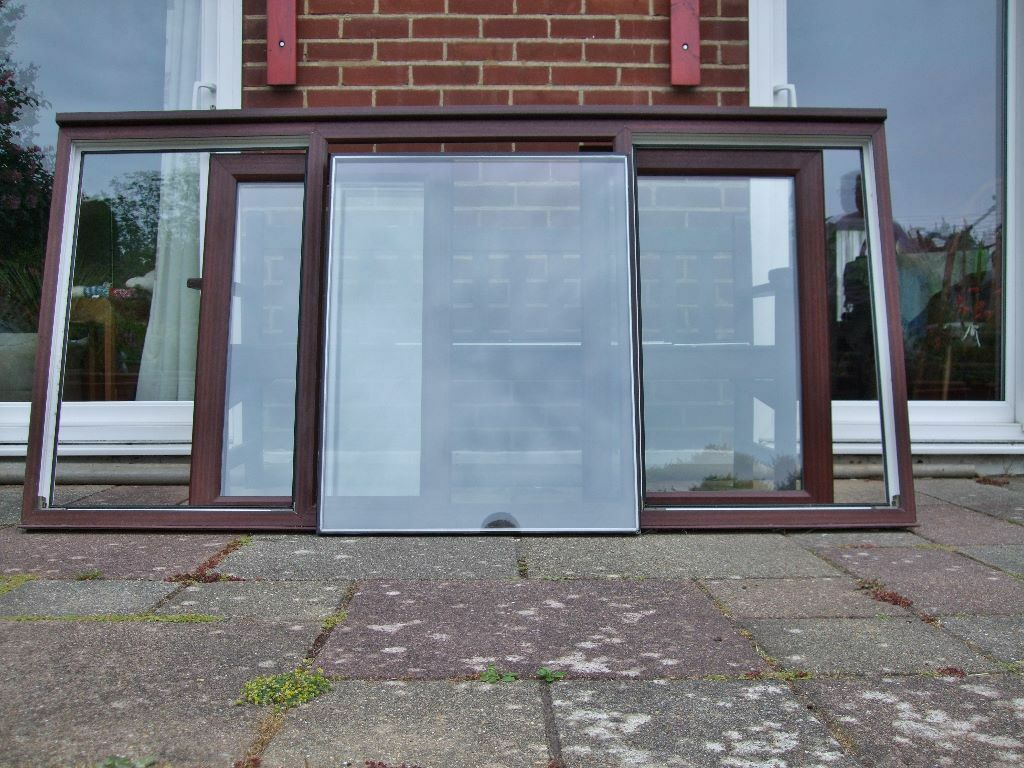 Brown double glazed window,white inside,2 bottom opening windows ...
