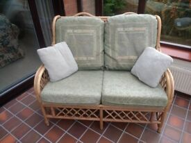 Cane conservatory sofa and 2 armchairs
