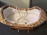 Moses basket with rocking stand mattress and fitted sheets