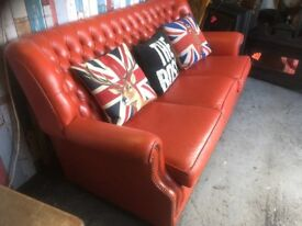 BIG S A L E Pegasus Chesterfield Striking Red Leather Monk Back 3 Seater Sofa - Uk Delivery