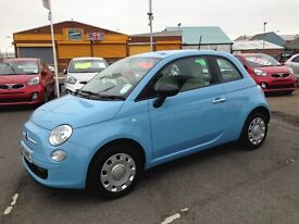Fiat 500 blue, low mileage FSH, 1 year Tax MOT