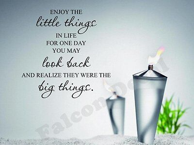 Enjoy The Little Things In Life For One Day You May Look Back Vinyl Wall Decal ()