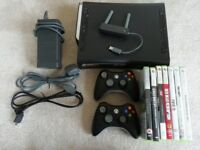 Xbox 360 with 2 controllers, 7 games and wifi adapter