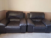 4 seater brown leather corner sofa and 2 chairs