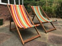 Set of 2 Deckchairs. As New - Nice & Bright - Comfy and Look Fantastic !!