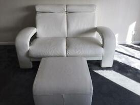 White leather 3 seater, 2 seater and footstool