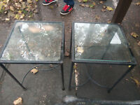 glass table metal legs