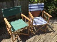 Two stout hardwood framed garden chairs with canvas back and seat. Used/good condition