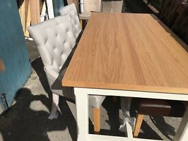 Alcester two Tone table and 4 Wing Back Chairs