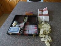 Travel set Backgammon chess cribbage dominoes and checkers good condition