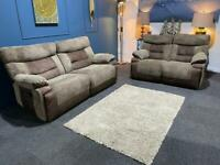 Sold Fabric recliner sofas. 3+2 seater suite