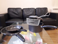 Pans, saucepan with sieve and lid