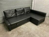 FREE DELIVERY IKEA FRIHETEN BLACK LEATHER CORNER SOFA BED GREAT CONDITION