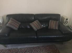 3 seater sofa and love seat arm chair in Black leather