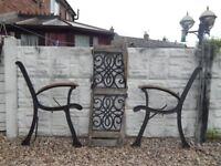 Cast iron bench ends / benches / garden furniture / outdoor salvage / patio / vintage garden bench