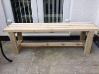 New handmade solid wood garden bench