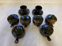 Vintage Winchcombe pottery set 6 lidded pots and tea and coffee cups