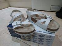 Birkenstock Rio White Sandals Size 6/39 Excellent Condition With Box/ Worn Twice