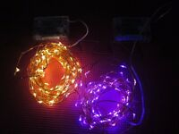 fairy lights white and purple 10meters copper wire