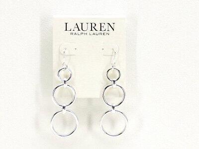 Ralph Lauren Triple Drop Earrings Silvertone New! NWT