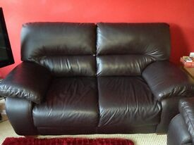 2 x Dark Brown Leather Sofas (will sell separately)