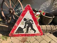vintage industrial metal quirky men at work traffic sign mancave prop