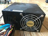 Tagan 480W power supply. Works well and quiet