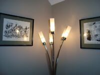 Bamboo-style, brushed steel floor lamp with 5 lights in frosted glass tube shades. Excellent cond.