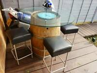 HOMEMADE GARDEN TABLE BARREL AND CHAIRS