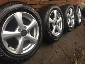 """As New 15"""" 2015 VW Caddy alloy wheels +winter tyres 5x112 Golf mk5 Mk6 CAN POST"""