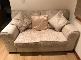 Two seater sofa, snuggle chair and matching footstool bought from Gillies. Excellent condition.