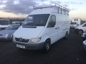 2005 ,,55 REG MERCEDES SPRINTER 308 medwbase hightop roof rack ladder long mot drives superb big van