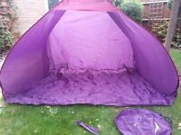 Large, pop up, family beach tent / sun shade w/ storage bag & pegs (could be used as play house)