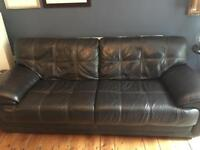 Dark Brown 3 Seater Leather Sofa for sale