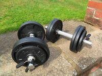 DOMYOS Solid Chrome Dumbells with 20kg Cast Iron Weights