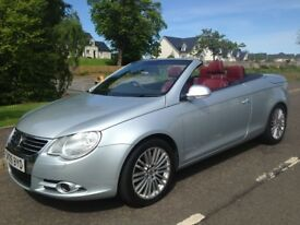 *********** £3495 *********** CONVERTIBLE HARDTOP VW EOS PETROL STUNNING RED LEATHER INTERIOR
