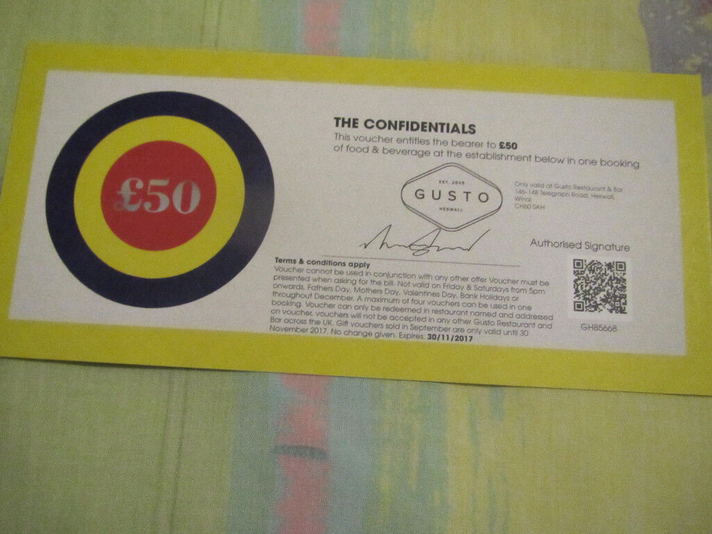 £50 Restaurant voucher for Gusto Restaurant and Bar. Wirral. CH60 0AH