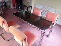 Chrome glass table and chairs (Retro special)