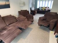 DFS Three Piece Power Recliner Suite (Three Seater Settee with Two Chairs)