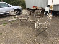Four vintage English folding garden chairs
