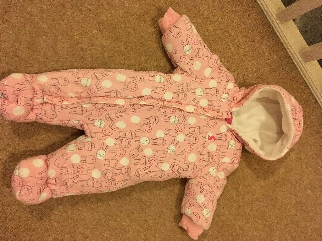 7b435da02 As new 0-3 months Joules pink bunny baby girl snowsuit winter suit ...
