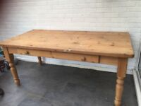 Large Antique pine dining table in need of some attention