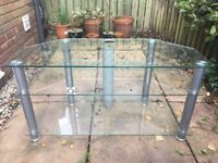 Glass and chrome three level TV stand 100 x 46 x 52