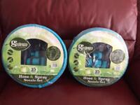 2 x 15 meter hoses and nozzle set brand new sealed