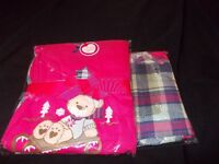 ladies pyjamas tartan bottoms and teddy bear top all brand new