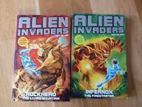 2 alien invaders paperbacks with gaming cards