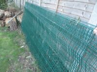 4 X PLASTIC COATED HEAVY DUTY WIRE FENCING, EACH APPROX 10' w X 4'h, IDEAL FENCING/ANIMAL ENCLOSURE