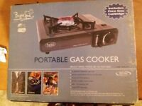 Bright Start Camping stove - single burner in carrying case with two full gas cartridges. BRAND NEW