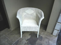 Basketweave Chair, White, Good Condition.
