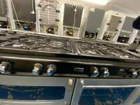 Black & silver new home 100cm gas cooker grill & double ovens good condition with guarantee